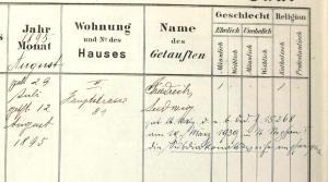Der Taufeintrag von Friedrich Karas.