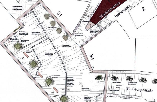 So planen die Landschaftsarchitekten Danielzik und Leuchter den Platz zwischen Kaufland und Bügeleisenhaus. Grafik: Danielzik + Leuchter BDLA