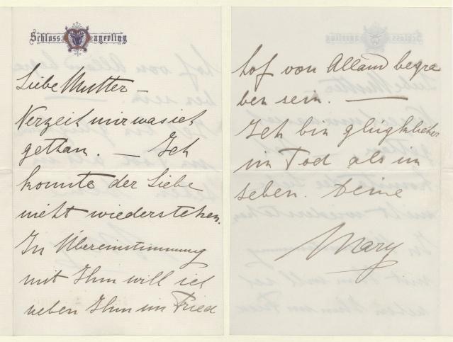 Abschiedsbrief von Mary Vetsera an ihre Mutter. Foto: Schoellerbank