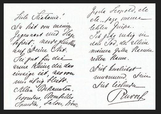 Rudolfs letzte Zeilen an seine Gattin (Signatur Autogr. 1121/35-3 | Samml.: Han (-> HAD), Inv.-Nr H 29/87 ) ÖNB