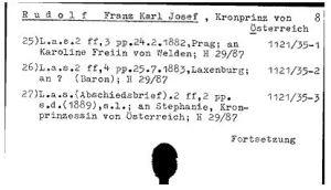 Kopie des alten Autographenkatalogs der Österreichische Nationalbibliothek.
