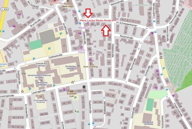 """Der """"Marie Louise Marjan-Boulevard"""" in der Südstadt? Karte: OpenStreetMap"""