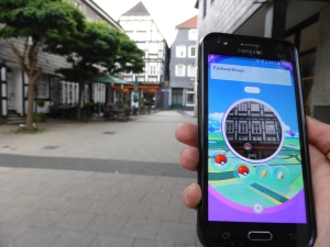 Pokéstop bei Nieland - hier kann auch virtuell aufgetankt werden. Foto: Lars Friedrich