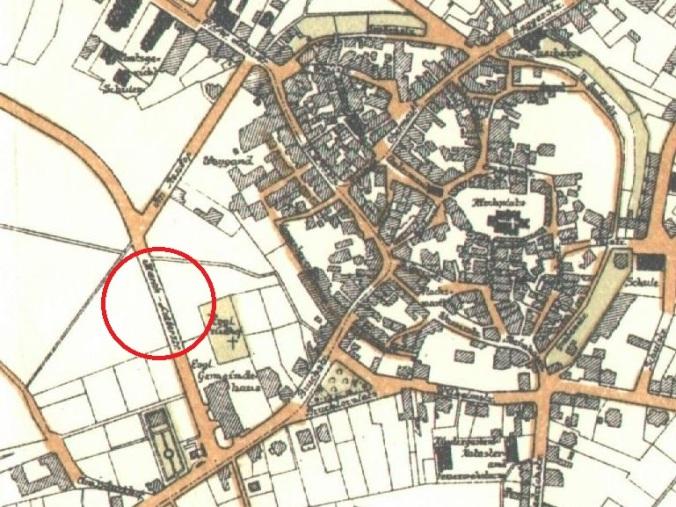 """Um die an den Sozialdemokraten Bebel erinnernde Straße verschwinden zu lassen benannten die Nazis diese in """"Im Reschop"""" um - und nannten den bisherigen Reschop kurzerhand Martin-Luther-Straße. Karte (ca. 1937): Stadtarchiv Hattingen"""