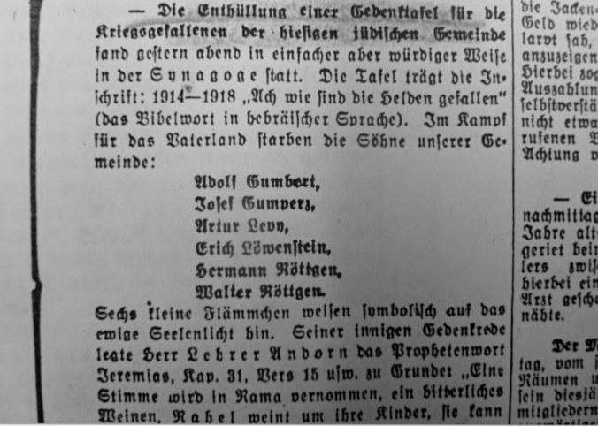 Zeitgenössischer Bericht von 1926 über die Einweihung des Gedenksteins der jüdischen Gemeinde Hattingen in der Synagoge an der Bahnhofstraße.