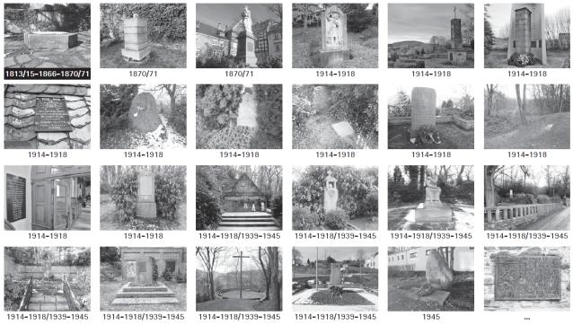 Übersicht Hattinger Kriegsdenkmäler, erstellt 2014.